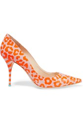 Sophia Webster Lola Leopard Print Leather Pumps Orange