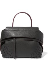 Tod's Wave Medium Textured Leather Tote Dark Gray