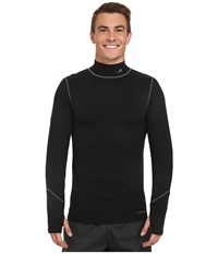 Terramar Thermolator Long Sleeve Mock Neck W Mesh Black Men's Long Sleeve Pullover