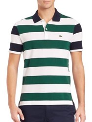 Lacoste Nautical Stripe Polo Shirt Navy Pine