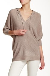 Sweet Romeo Hooded Tie Front Sweater Brown
