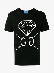 Gucci Ghost Diamond Cotton T Shirt Black White Denim