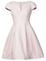 Halston Heritage Ruffled Flared Short Dress Pink And Purple