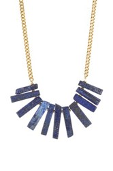 Yochi Design Flat Agate Statement Necklace Blue