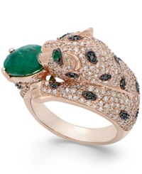 Effy Collection Signature By Effy Emerald 1 1 2 Ct. T.W. And Diamond 1 3 8 Ct. T.W. Panther Ring In 14K Rose Gold Green