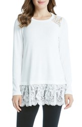 Karen Kane Women's Lace Inset Sweater Cream
