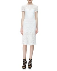 Burberry Short Sleeve Lace Illusion Dress White
