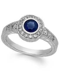 Macy's Sapphire 5 8 Ct. T.W. And Diamond 1 3 Ct. T.W. Round Ring In 14K White Gold