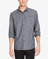 Kenneth Cole New York Men's Slim Fit Chambray Shirt Heather Grey