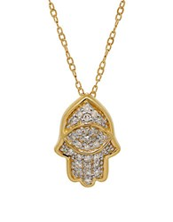 Lord And Taylor Diamond 14K Yellow Gold Hamsa Pendant Necklace