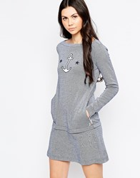 See By Chloe Striped Drop Hem Dress With Anchor Badge Blue