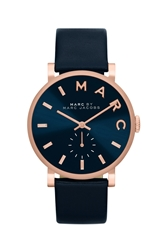 Marc By Marc Jacobs 'Baker' Leather Strap Watch 37Mm Navy Rose Gold