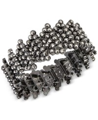 Inc International Concepts Hematite Tone Metallic Pave Geometric Stretch Bracelet Only At Macy's Gray