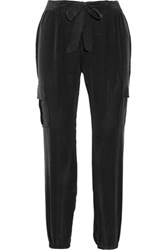 Joie Aliza Washed Silk Tapered Pants Black