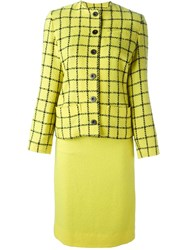 Jean Louis Scherrer Vintage Woven Check Suit Yellow And Orange