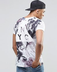 New Look T Shirt In White With Floral Print And Nyc Logo White