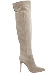 Gianvito Rossi 100Mm Suede Knee High Boots Beige
