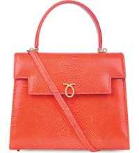 Launer Traviata Lizard Leather Tote Orange
