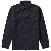 Beams Plus Fleece Overshirt Blue