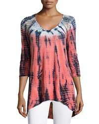 Xcvi Charlotte Tie Dye Crochet Tunic Orange Navy