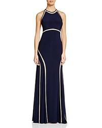 Aqua Illusion Inset Matte Jersey Gown Navy Nude
