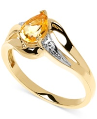 Macy's Citrine 5 8 Ct. T.W. And Diamond Accent Ring In 10K Gold