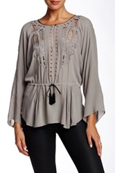 Twelfth St. By Cynthia Vincent Chikat Embroidered Blouse Gray