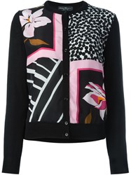Salvatore Ferragamo Multi Pattern Cardigan Black