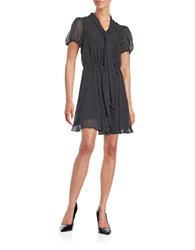 Betsey Johnson Dotted Tie A Line Dress Navy White