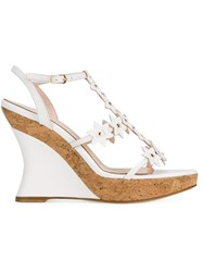 Oscar De La Renta Floral Wedge Sandals White