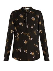 A.L.C. Walkers Floral Print Silk Top Black Multi