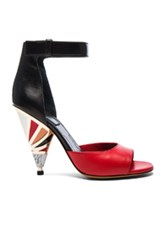 Givenchy Leather Multicolor Heels In Black Red Black Red