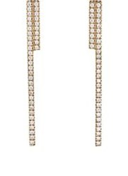 Monique Pean Double Bar Drop Earrings Colorless