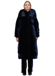 Stella Mccartney Marcelline Oversized Velvet Quilted Coat Navy