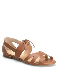 Carmen Marc Valvo Alana Leather Strappy Sandals Cognac