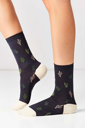 Hansel From Basel Cacti Crew Sock Charcoal