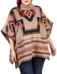 Lucky Brand Plus Plus Aztec Wool Blend Poncho Beige Multi