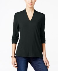 Charter Club Long Sleeve V Neck Top Only At Macy's Deep Black