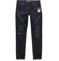 Dolce And Gabbana Slim Fit Embroidered Denim Jeans Blue