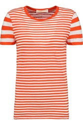 Michael Michael Kors Striped Cotton Jersey T Shirt Orange