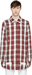 Off White Red And White Flannel Check Shirt