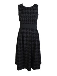 Feverfish Flared Pleated Checked Dress Black