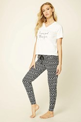 Forever 21 I Was Good This Year Pj Set Cream Black