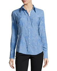 Georg Roth Los Angeles Long Sleeve Embroidered Blouse Periwinkle