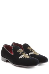 Dolce And Gabbana Embroidered Velvet Slippers Black