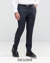 Noose And Monkey Super Skinny Smart Trousers In Fleck Navy