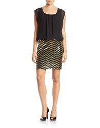 Guess Sequin Cocktail Dress Black Gold