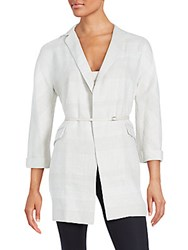 Loro Piana Solid Open Front Belted Jacket White