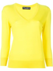 Dolce And Gabbana Ribbed V Neck Sweater Yellow And Orange