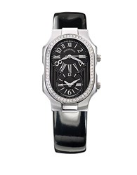 Philip Stein Teslar Ladies Silvertone Diamond And Patent Leather Watch Black